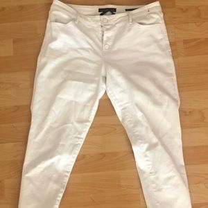 High rise white ankle skinny jeans